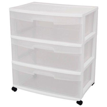 Sterilite 3 Drawer Wide Cart White White Kitchen Storage