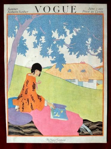 Vogue Cover - June 1917 With vivid blue leaves above her, illustration shows a woman's pink and orange ensemble with a thatched cottage in the background. This charming illustration, by Helen Dryden, appeared on the June cover of Vogue.