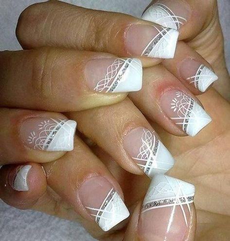 A list of cute wedding nail designs - German Style - White wedding nail art designs for brides -