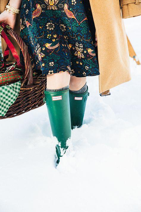 lovely holiday look: corduroy Larksong dress by Eva Franco, Hunters, classic camel coat