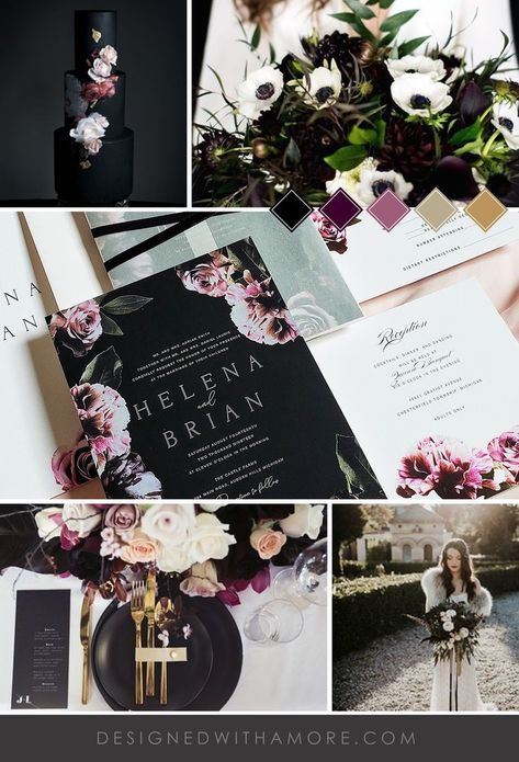Wedding Color 2019 color trends for 2019 weddings. Dark and Moody Wedding Invitation Dark Floral Wedding Invitations Modern Floral Wedding Invitation Black Dark Floral (Manchester design) Gothic Wedding Invitations, Wedding Invitation Wording, Floral Invitation, Invitation Cards, Invite, Manchester, Sombre, Wedding Planning, Wedding Ideas