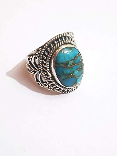 Turquoise Jewelry Copper Turquoise Ring Dainty Ring Handmade Ring Women Ring Sterling Silver Ring Natural Turquoise Designer Ring