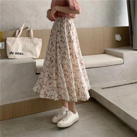 11.73US $ 46% OFF|Vintage Floral Print A line Pleated Long Skirts Summer Women Korean Skirt Streetwear Drawstring Elastic Waist Midi Skirt|Skirts|   - AliExpress