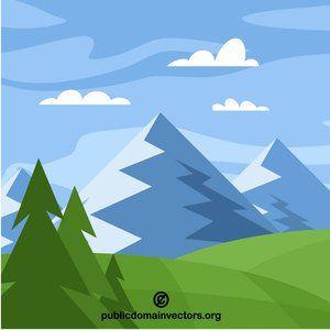 Mountains Natural Landscape Vector Clip Art Nature Vector Landscape Nature