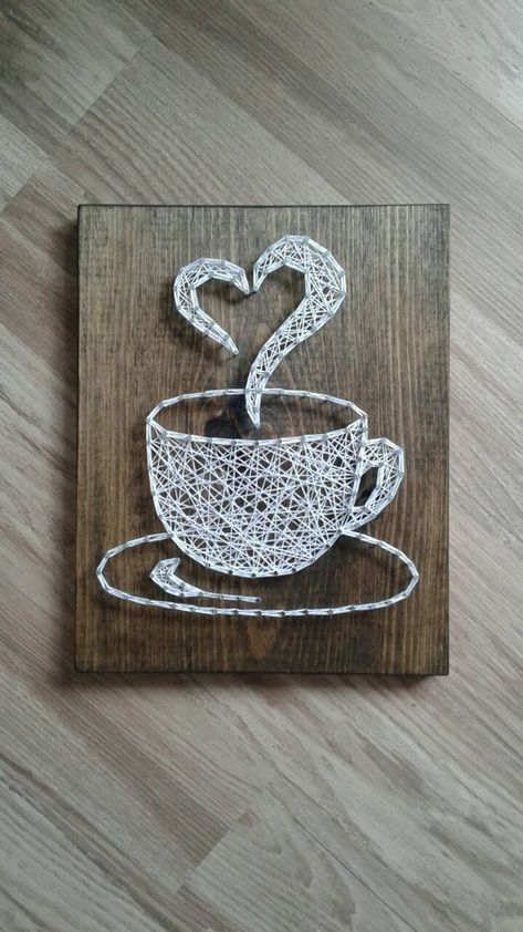 Coffee string art coffee cup string art string art coffee | Etsy