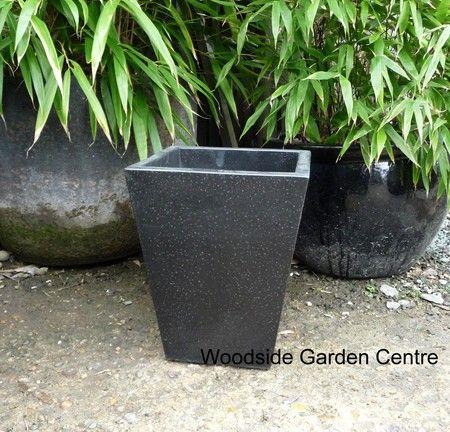 Black Terrazzo Square Taper Pot Planters   Woodside Garden Centre   Pots To  Inspire   Lightweight White Black Terrazzo Garden Pots   Pinterest    Terrazzo, ...