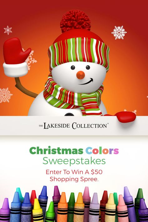 Pull out your markers and crayons, because it is time for the #LakesideChristmasColors #Sweepstakes! Download our coloring page, fill it with the shades of the season, then share it with us on #Facebook or #Instagram for a chance at winning one of five $50 #Lakeside #shoppingsprees with #freeshipping. Enter by midnight 12/25. #contest #Christmas #Christmassweepstakes