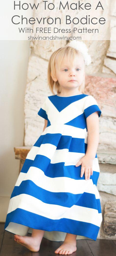 How to make a chevron bodice    Free Dress Pattern 12m-8Y    Shwin&Shwin