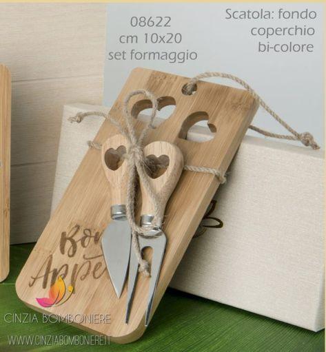 Bomboniere Matrimonio Utili Cucina.Set Formaggio Legno Cuore Cb08622 Nel 2020 Bomboniere