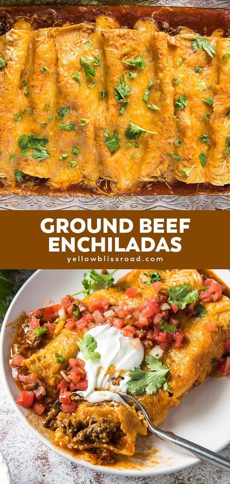 Learn how to make the best, easy Ground Beef Enchiladas! Seasoned ground beef rolled up in soft corn tortillas and smothered in red sauce and melted cheese.