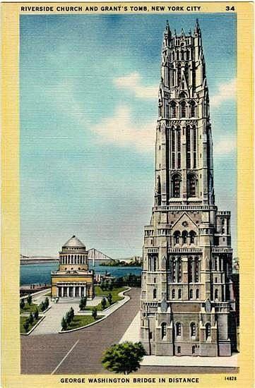 Vintage New York City Postcard - The Riverside Church and