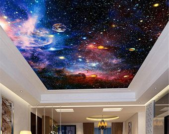 Custom 3d Photo Wallpaper Galaxy Stars Ceiling Fresco Art Wall Painting Living Room Bedroom Ceiling Mural Wallpaper Mural Wallpaper Ceiling Murals Custom Wall Murals
