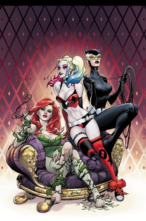 The Gotham City Sirens: Poison Ivy, Harley Quinn and Catwoman. Marvel Dc Comics, Dc Comics Art, Comics Girls, Gotham Comics, Harley Quinn Drawing, Harley Quinn Comic, Harley Quinn And The Joker, Catwoman, Bd Pop Art