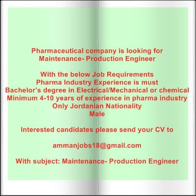 Pharmaceutical company is looking for Maintenance