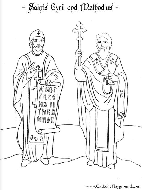 Saint Cyril and St. Methodius Catholic saints coloring page for children.  Feast day is February 14th.