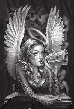 Fallen Angel -  Fallen Angel  - #angel #angeltatto #bestfriendtatto #fallen #hearttatto #inspirationaltatto #liontatto #matchingtatto #necktatto #tattoart