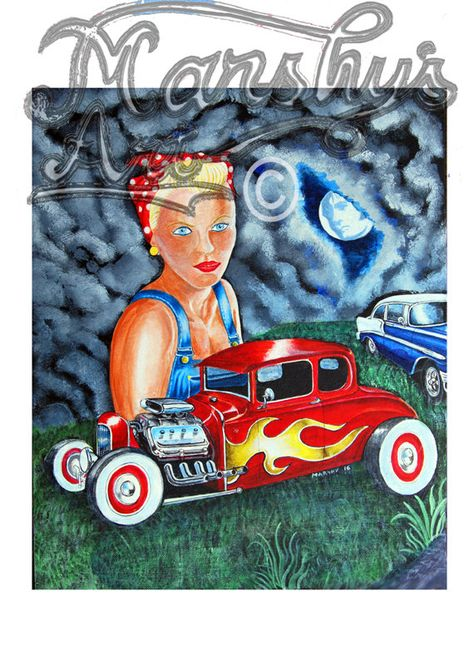 American Hotrod Custom Car And 57 Chevy Art Print Complete With