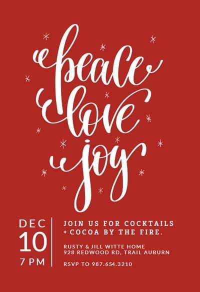 Peace Love Joy Christmas Invitation Christmas Party