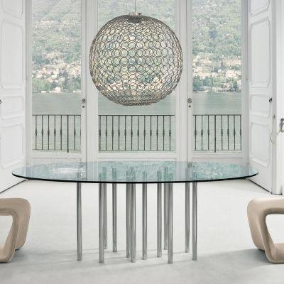 Tavoli Tondi In Cristallo.Tavolo Tondo Di Design In Cristallo E Acciaio Cromato Made Italy