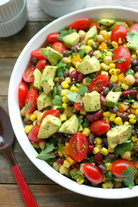 Avocado And Three Bean Salad With Black Beans Red Kidney Beans Garbanzo Beans Corn Orange Grape Tomatoes Cilan Bean Salad Recipes Recipes Healthy Recipes