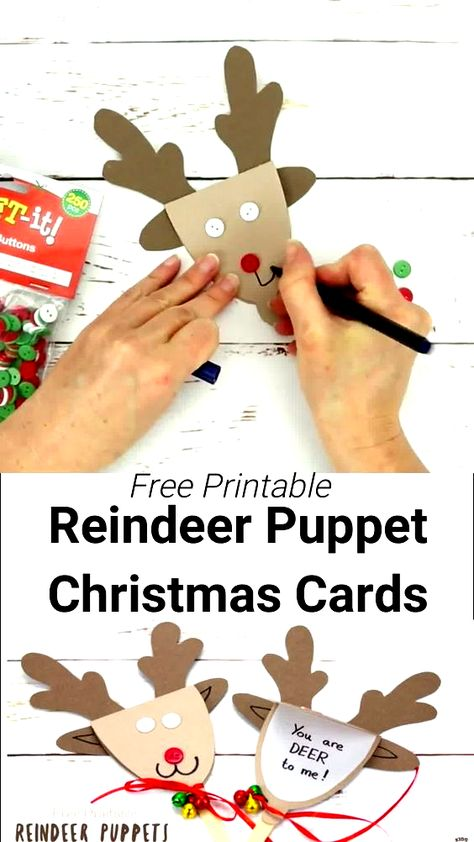 REINDEER PUPPET CHRISTMAS CARDS - These Rudolf Puppets are so fun! This reindeer craft doubles up to be a surprise Christmas card craft so theyre perfect for sharing festive cheer to friends and family too! A Christmas craft for kids that they can play with too!  #kidscraftroom #Christmascrafts #Christmascraftideas #kidscrafts #reindeer #Rudolf #reindeercrafts #rudolfcrafts #puppets #puppetcrafts #chistmaspuppets #greetingcards #Christmascards #Christmas