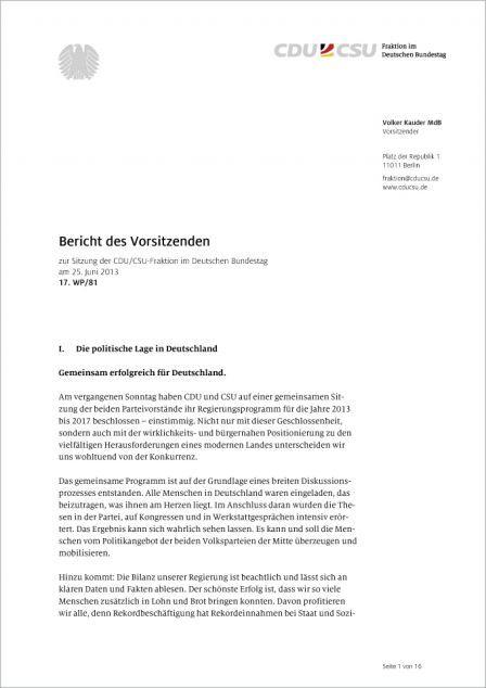 Cdu Csu Corporate Design Geschäftsausstattung Bericht
