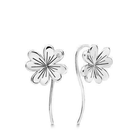 Sterling Silver 4 Leaved Clover Stud Earrings Lucky Four Leaf Clover Earrings