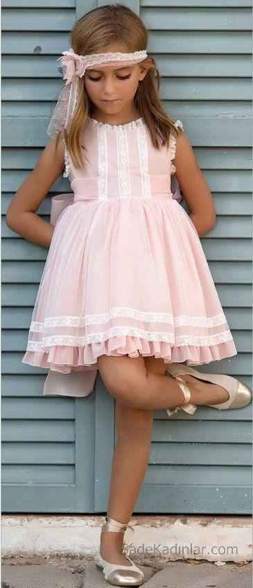 2020 Kiz Cocuk Abiye Elbise Pudra Kisa Kolsuz Fisto Detayli Firfirli Etekli Bebek Elbisesi Kadin Elbiseleri Sirin Elbiseler
