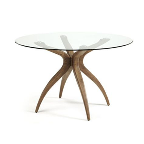 Jenson Dining Table Round In Glass Top With Walnut Legs Glass