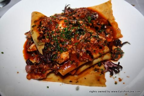 Fazzoletti pasta with halibut, calamari, and tomato sugo @MasonPacific #dinner #foodporn #delicious #goodeats #tasty #yum #pasta #seafood
