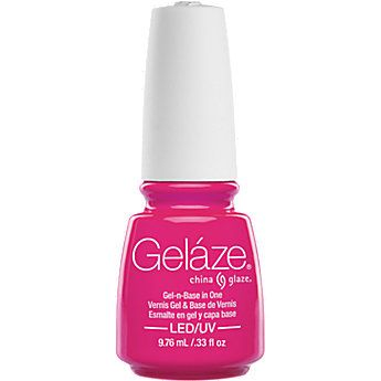 China Glaze has developed a unique 2 step gel polish system. Gelaze is a base coat and gel polish in You van cure the gel polish with any UV or LED lamp and it stays on for up to 10 days. Each bottle of Gelaze contains ml polish.