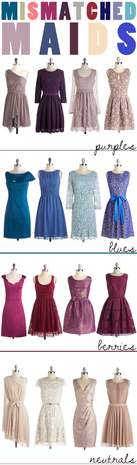 Mismatched Maids: pairing dresses in different hues & textures.
