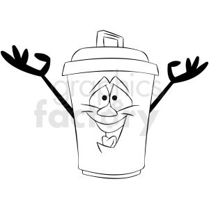 Black And White Cartoon Trash Can Character Black And White Cartoon Clip Art Black And White