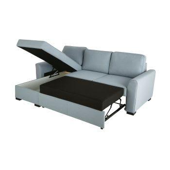 Blue Grey 3 4 Seater Corner Sofa Bed