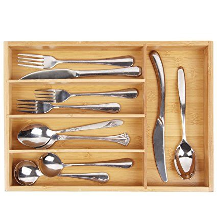 Utensil Cutlery Tray Bamboo Wooden Drawer Dividers 5 Compartments