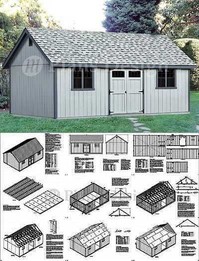 16 X 24 Reverse Gable Backyard Storage Shed Plans D1624g Free Material List 610708152262 Ebay Backyard Storage Sheds Backyard Storage Shed Plans