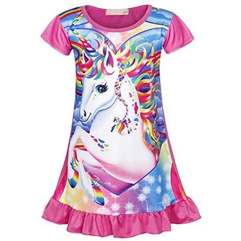 AmzBarley Girls Unicorn Nightgowns Kids Rainbow Nightie Nightdress Short//Long Sleeve Unicorns Nighties Dressing Gown Night Dresses Child Sleeping Outfit