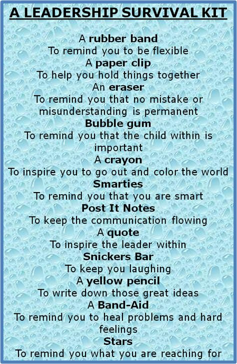 leadership survival kit - Bing Images - would be a neat thing to give students on the first day of my leadership seminar!