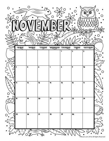 November 2018 Coloring Calendar Page Coloring Calendar Kids