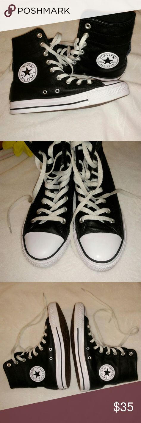 Converse Chuck Taylor All Star Leather High Top 7 Converse Chuck Taylor All  Star black leather sneaker. Size 7. Like new condition. 05e8dcb14