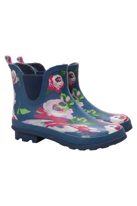 97e1e946bc0 Floral Winter Rubber Ankle Wellies | Gardening Fashion | Rubber rain ...