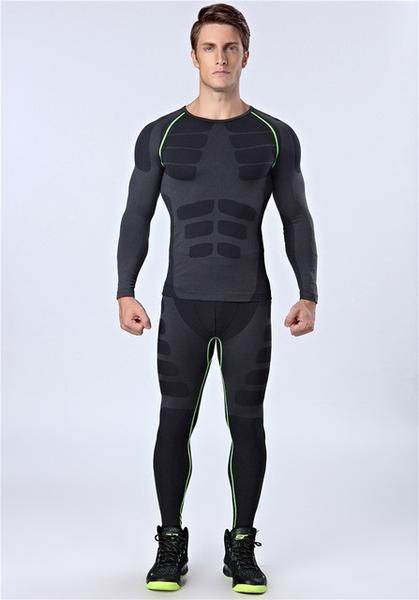 Fall Men Sports Gym Fitness Shaper Compression Base Long Sleeve Shirt Pants Set