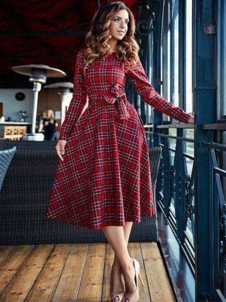Ladies Womens Long Sleeve Lace Plaid Vintage Retro 1950s Flared Swing Dress