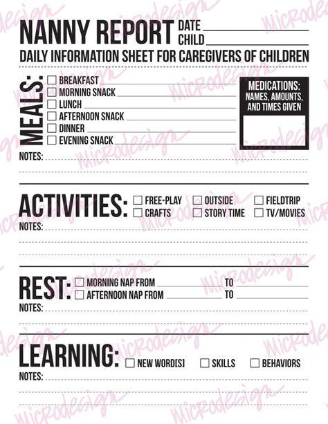 22 best Nanny images on Pinterest Daycare daily sheets, Daycare - nanny skills resume