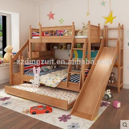 Source European Design Wooden Bunk Bed With Slide Double Bunk
