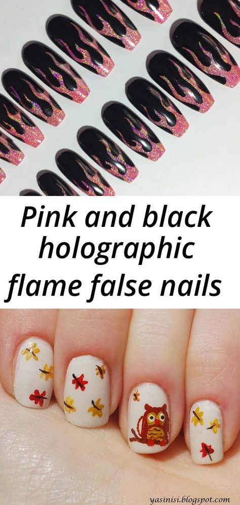 Pink and black holographic flame false nails