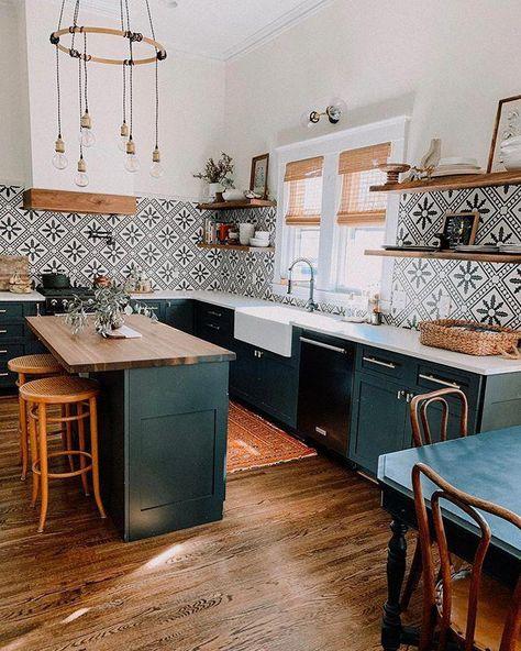Bold Patterns and Organic Materials Create an Unforgettable Kitchen Design | Hunker #dreamkitchen