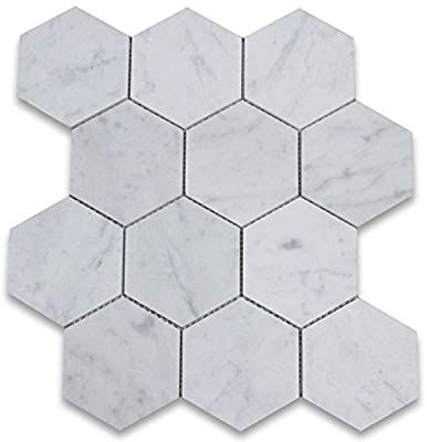 Stone Center Online Carrara White Italian Carrera Marble Hexagon Mosaic Tile 4 Inch Honed Venato Bianco In 2020 Hexagon Mosaic Tile Hexagonal Mosaic Hexagon Tile Floor