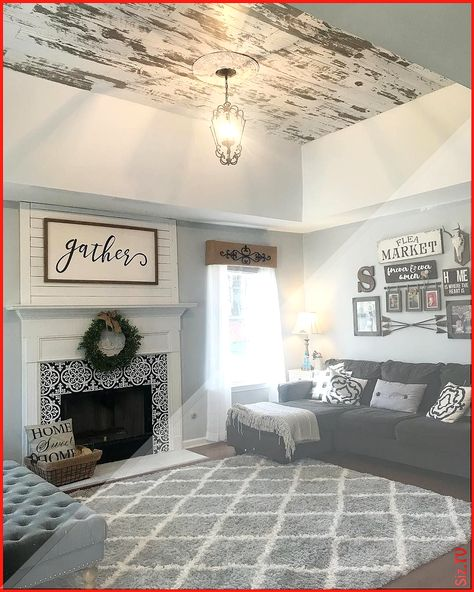 "Southernfarmcharm on Instagram: ""Finished up our ceiling makeover! Remove the old popcorn ceiling and add the distressed shiplap! #farmhouse #farmho… #add #ceiling #Distressed #FARMHO #Farmhouse #finished #grey farmhouse Living Room #Instagram #Makeover #popcorn"