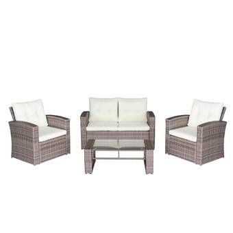 Kaiya 4 Piece Rattan Sofa Seating Group With Cushions Used Outdoor Furniture Patio Cushions Seating Groups